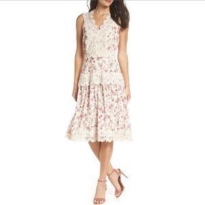 Adelyn Payton Lace Trim Boho Dress Ivory  B496